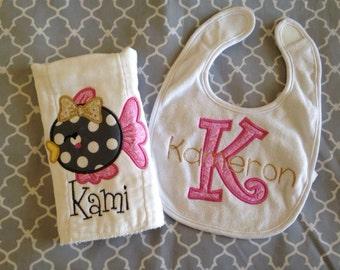 Bib and burp cloth gift set