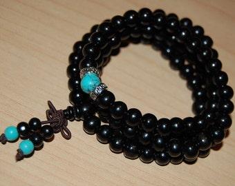 Wood Necklace,Buddhist Necklace,Spirituality,108 Mala Wood Beads,Stretch,Good Luck Bracelet,Man,Woman,Yoga Bracelet,Protection,Meditation