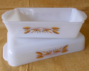 Pair Vintage Fire King Baking Dishes, Wheat Pattern