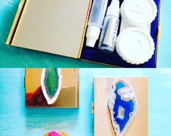 Agate Slice Contact Lens Case, Pill Box or Compact // Boho Accessories // Brass Cases // Compact