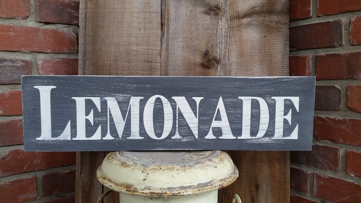 Handmade black and white rustic lemonade wood sign by for Rustic lemonade stand