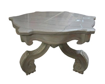 French Carved & Marble Top Coffee Table  Italian Marble Coffee Table  Marble Top Coffee Table French Provincial Coffee Table Vintage Marble