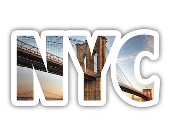 New York City Brooklyn Bridge Skyline Lettering Vinyl Decal Sticker