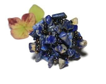 lapis lazuli, Bohemian style, size 60mm Adjustable ring