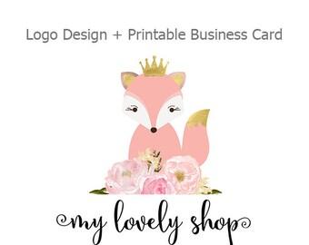Premade Logo Design, Fox and Watercolor Flower Logo, Small Business Logo, Printable Business Card