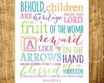 "Psalm 127 - Bible Verse - Scripture Art - 8x10"" Digital Design- Customizable - INSTANT DOWNLOAD Printable Art"