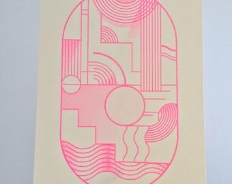 Fluro Risograph print