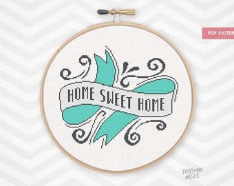 HOME SWEET HOME counted cross stitch pattern, modern home decor xstitch pdf