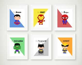 Superhero Print Set of 6, Superhero Wall Art, Boys Room, Superhero Art, Superman Print, Batman Print, Super Hero Art, Instant Download