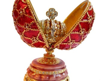 Faberge style egg with Crown gilded Openwork red jewelry box Austrian crystals - kodfb42
