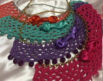 Crochet with costume jewellery necklace