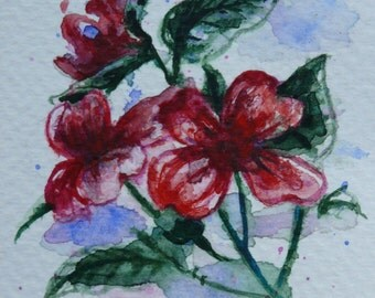 Original art Aceo, Artist trading card, ACEO, original watercolor painting, abstract red flower, flower painting, modern art, ATC