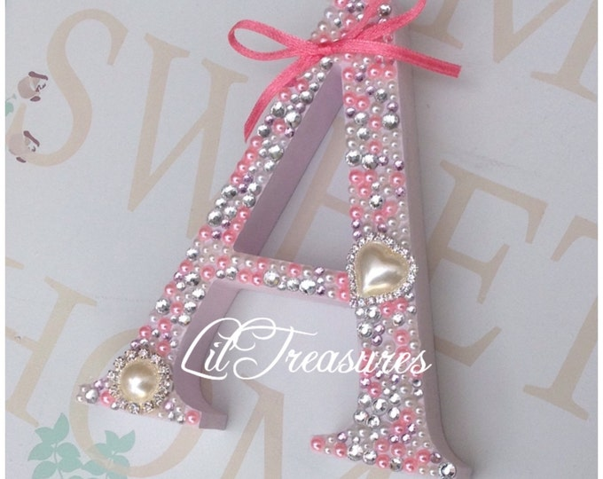 Letter | Free standing Pearl and crystal embellished letter | Sparkle, Home Decor. Home, love, dream signs