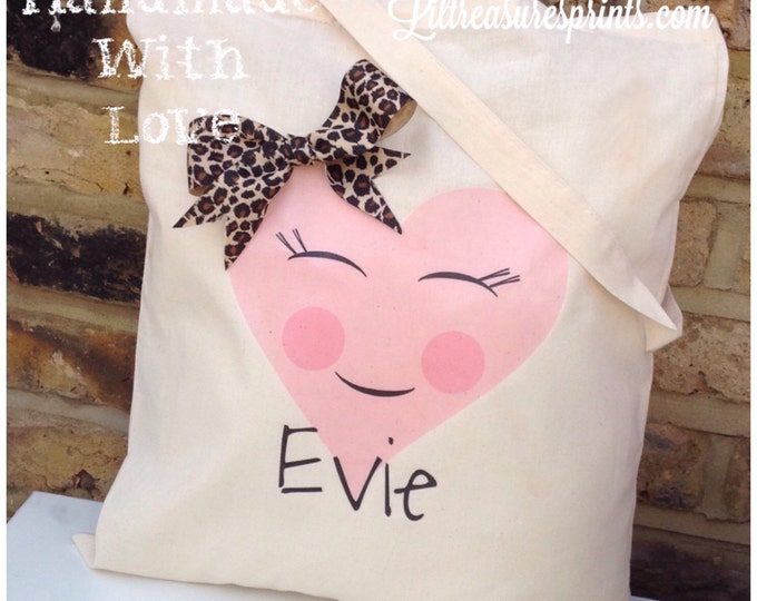 Personalised Shopper Tote Bag. Children's gift, floral, wedding gift bags, bridesmaid, flower girl, 3D bow