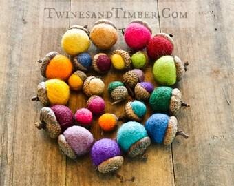 Handmade Wool Acorns - Set of 30
