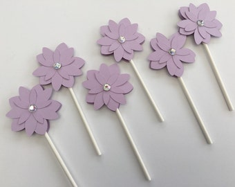 Purple Flower Cupcake Topper- Baby Shower Cupcake Topper- Birthday Cupcake Topper-Wedding Shower Cupcake Topper