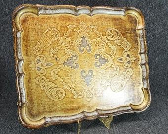 Vintage Wood Serving Tray Gold Trim