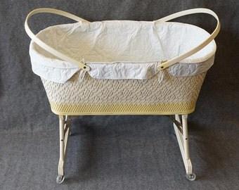 Vintage Hawkeye Quality Wicker Baskenette Baby Bed By Burlington Basket Co.