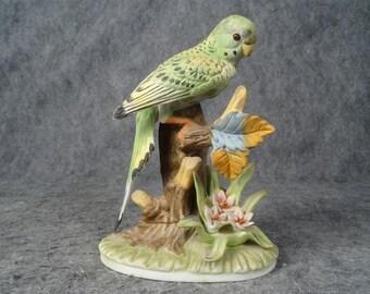 Green Bird on Branch Ceramic Figurine