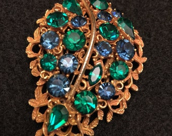 Vintage BSK blue and green leaf brooch - sparkling leaf pin - BSK marked costume jewelry - blue and green rhinestones