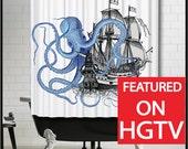 Blue Octopus Ship Shower Curtain - Tall Ship Sailing Boat Kraken tentacles blue bathroom shower curtain
