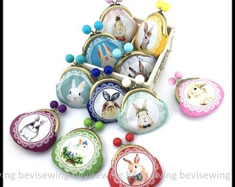 B406 Handmade sewing lipstick/coin purse/linen bag/Bunny/Rabbit/8.5cm sewing coin bag