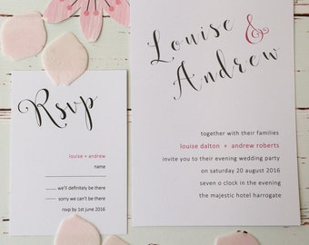Pack of Trendy Modern 25  Wedding Invitations with pink accent colour.   Affordable wedding invitations.