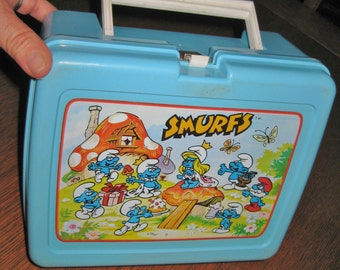 Vintage 1980'S SMURF Blue Lunchbox with thermos King Seeley Peyer