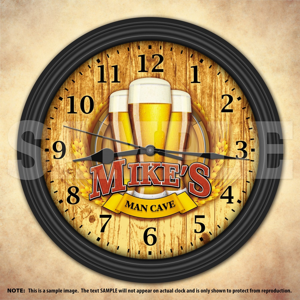 beer man cave personalized decorative wall clock. Black Bedroom Furniture Sets. Home Design Ideas