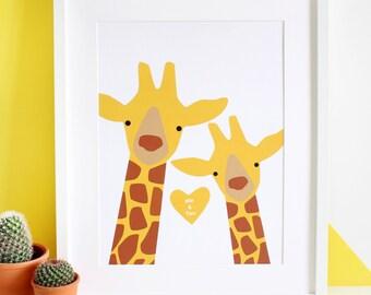 Giraffe Couple 'Selfie' Personalised Print