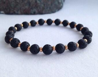 Black Lava bracelet with gold seed beads, black and gold bracelet, unisex bracelet, gift for her, gift for him, black bracelet, lava jewelry