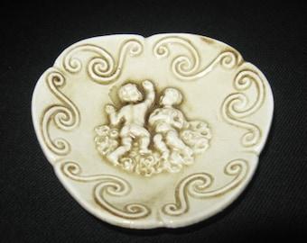 Decorative Trinket Dish, Ring Dish, Jewellery Dish, Cherubs, Angels, Puntis, collectible