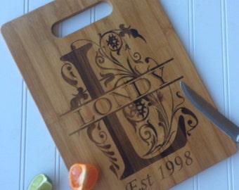 Bamboo cutting board, Monogram cutting board, Cutting Board, wedding gift cutting board, couple cutting board, monogram gift ideas