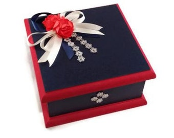 Keepsake Box - Navy & Red