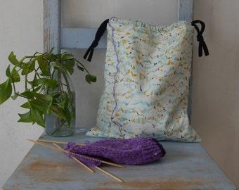 Large drawstring bag, Knitting Project Bag, Project Bag