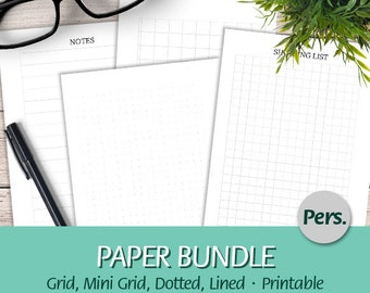 Personal - EN - Paper Bundle - Lined, Dot, Grid and Mini Grid - To Do, Shopping List, Groceries and Notes - Printable Planner Insert, PDF
