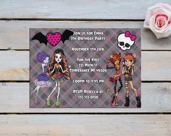 INVITATION,Monster High Birthday Invitation,monster high invitation,monster high party