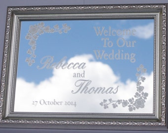 Wedding Sign, Personalised Wedding, Framed Mirror, Engraved Mirror, Wedding Gift, Ceremony, Reception Decor, Gold, Silver, White, Pink, Blue