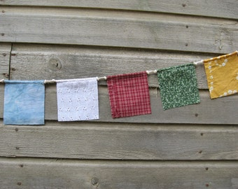 Prayer Flags, Garden Flags, Gypsy Flags, Hippie Bunting,Festival Flags,Small,Upcycled,Fabric Flags,Wedding Flags,Five Elements,Birthday,Gift