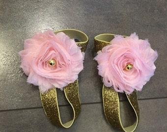 Pink and gold barefoot sandals, birthday sandals, photo prop