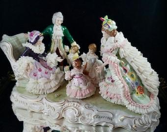 Irish Dresden Figurine Grandmothers Birthday Dresden Lace Figurine Porcelain Figurine Dresden Porcelain Doll German Figurine Antique Doll