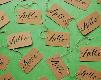 Hello Kraft Tags - Pack of 10