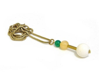 Venetian necklace with geometric gem pendant-ball pendant-Ora