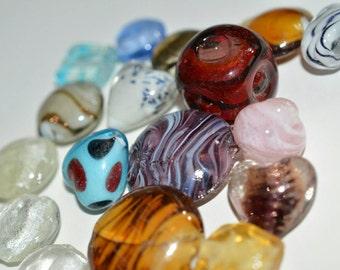 Lampwork beads, bead lot, heart beads, red beads, bead soup