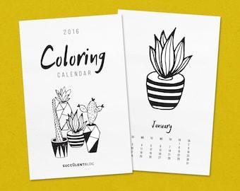 2016 Coloring Succulent Calendar