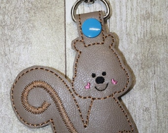 Squirrel Bag Tag Keychain In The Hoop Embroidery Machine Design for the 5x7 hoop