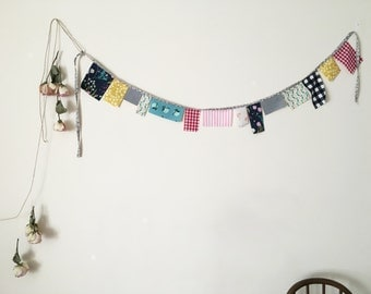 Fabric Garland / Cotton Garland / Banner / Handmade Wall Hanging