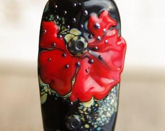 Handmade lampwork glass bead, focal bead,artisan  lampwork pendant black orange red poppy pendant, flower summer