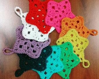10 Crocheted Christmas Star Ornaments