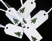 Gift Tags - Art Deco Christmas Tree on White - Christmas - Set of 6